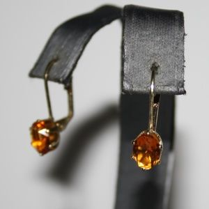 Vintage gold and yellow topaz lever back earrings